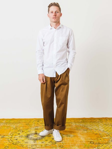 White Poplin Leisure Shirt