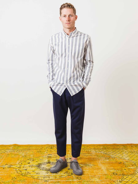 schnayderman's-blue-triple-stripe-leisure-shirt-on-body