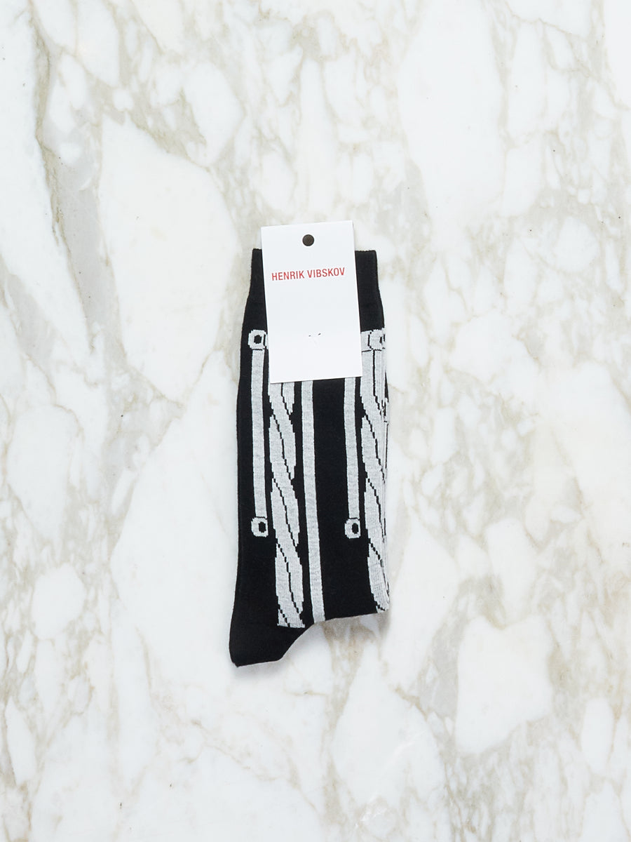 B/W Paper Cable Socks Homme