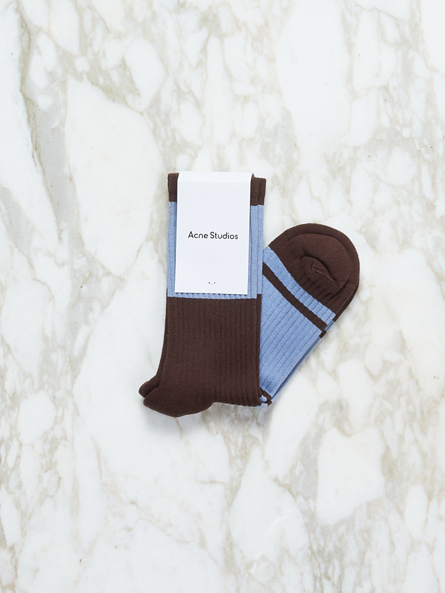 Brown/Blue Rib Socks