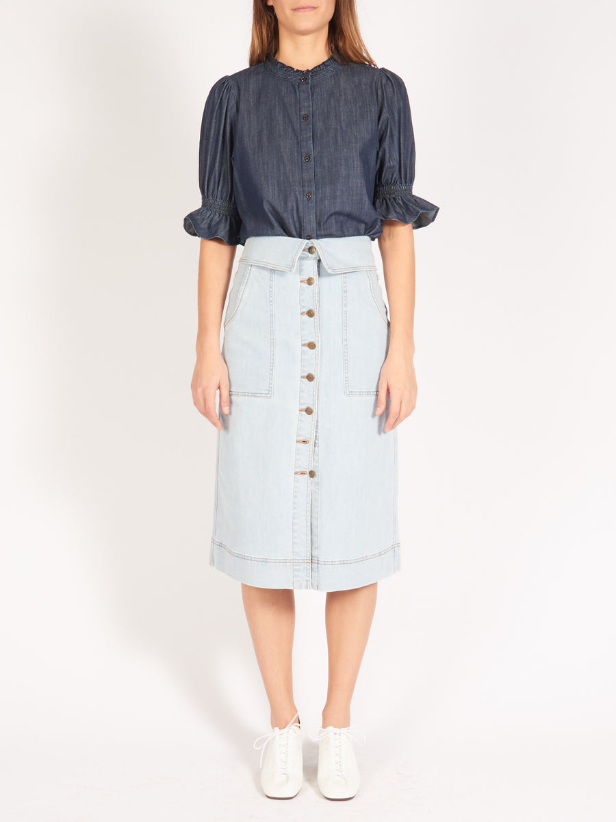 ulla-johnson-light-wash-andi-skirt-on-body