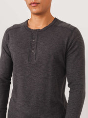 Wings + Horns-Charcoal-Slub-Long-Sleeve-Henley-on-body