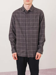 Wings + Horns-Grey-Windowpane-Flannel-Shirt-on-body