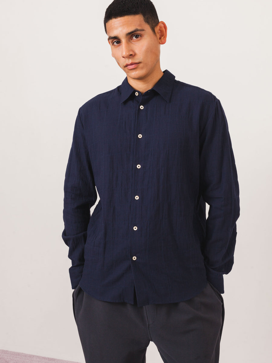 a-kind-of-guise-Soft-Navy-Dharan-Shirt-on-body