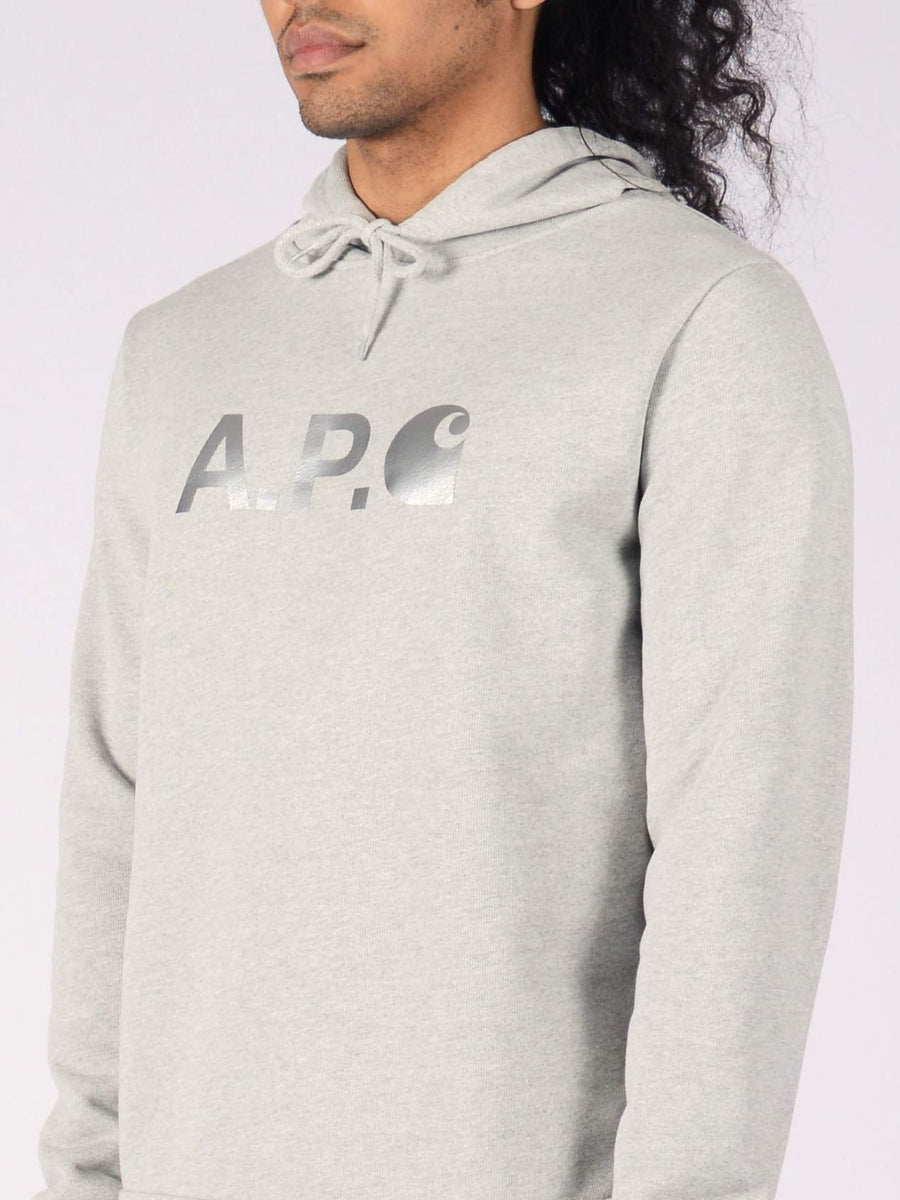 a.p.c.-carhartt-Heather-Grey-Stash-Hoodie-on-body