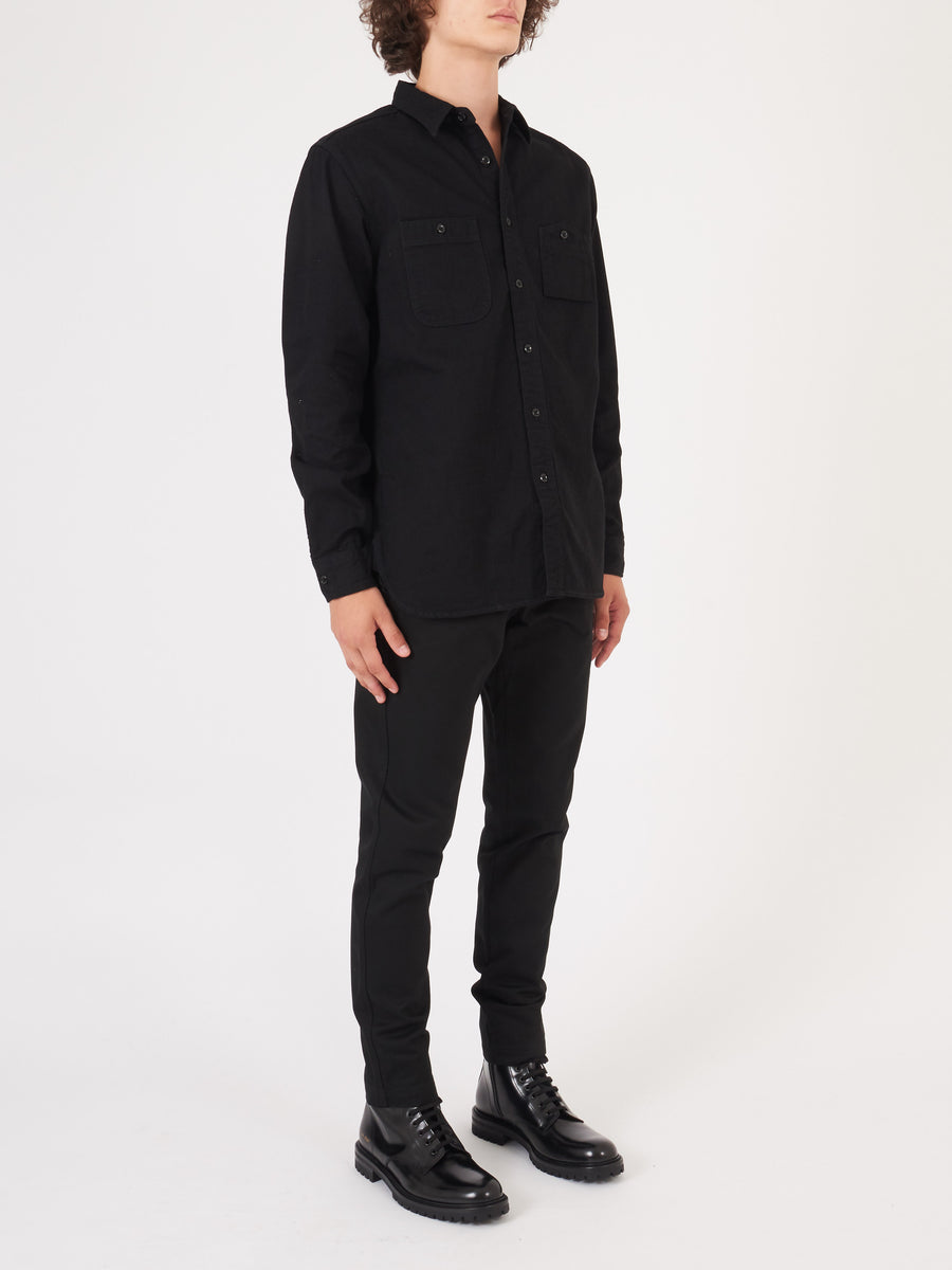 beams-plus-Black-Denim-Work-Shirt-on-body