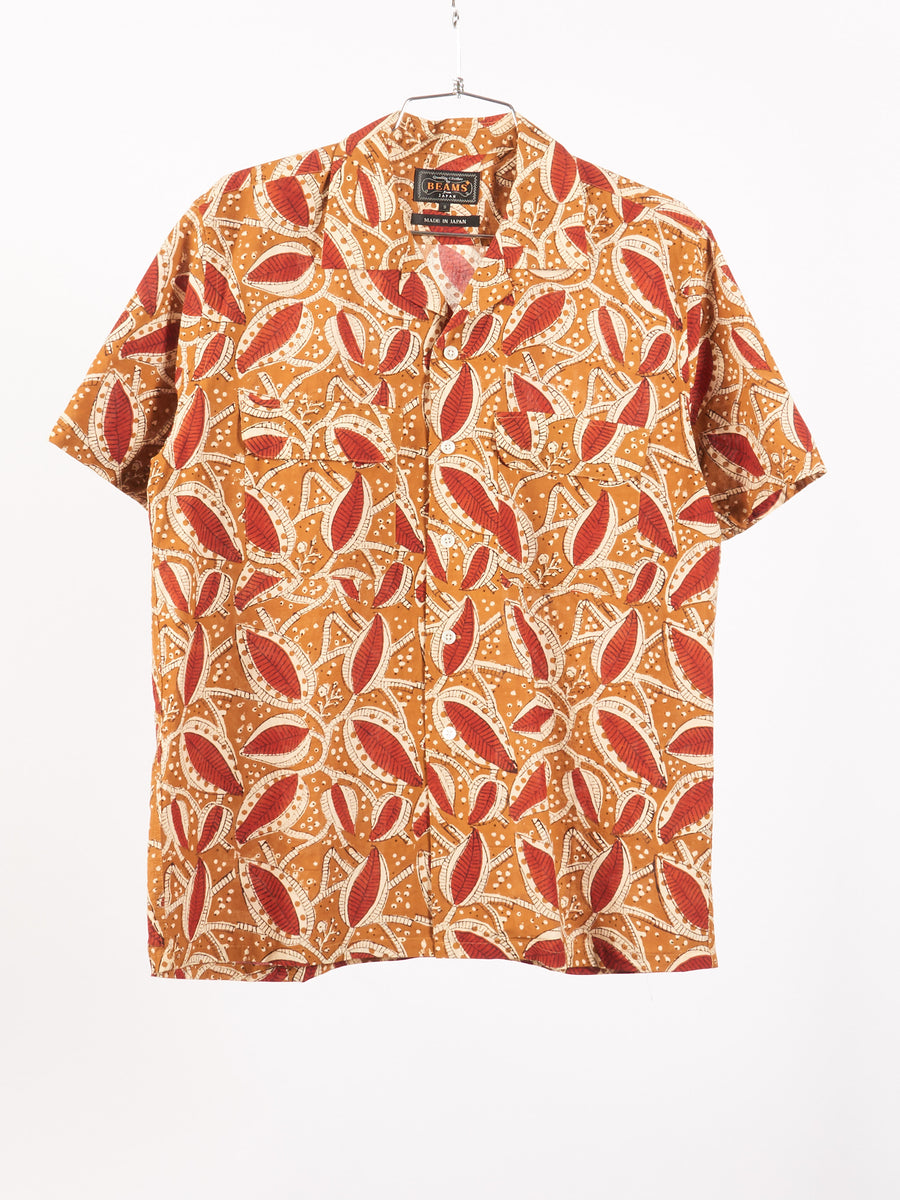 beams-plus-Brown-Open-Collar-Block-Print Shirt