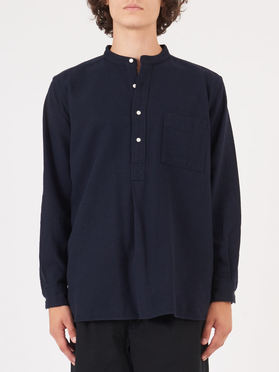 beams-plus-Navy-Band-Pullover-Shirt-on-body