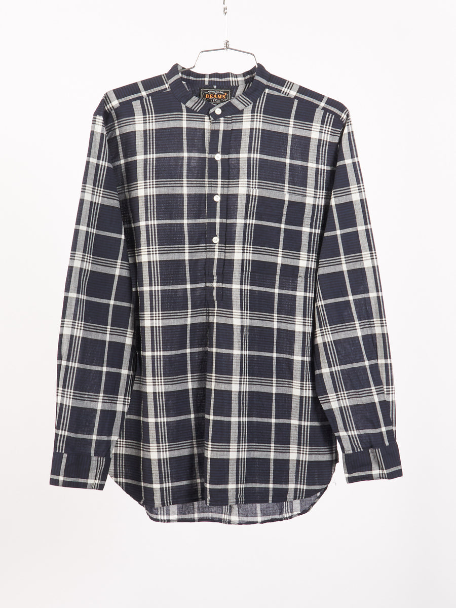 beams-plus-Navy-Madras-Button-Up
