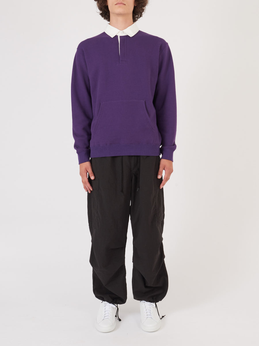 beams-plus-Purple-L/S-Rugby-Polo-on-body
