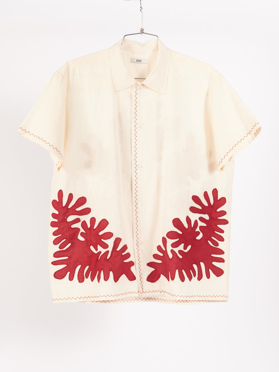 bode-Natural/Red-Setting-Cut-Out-Applique-S/S-Shirt