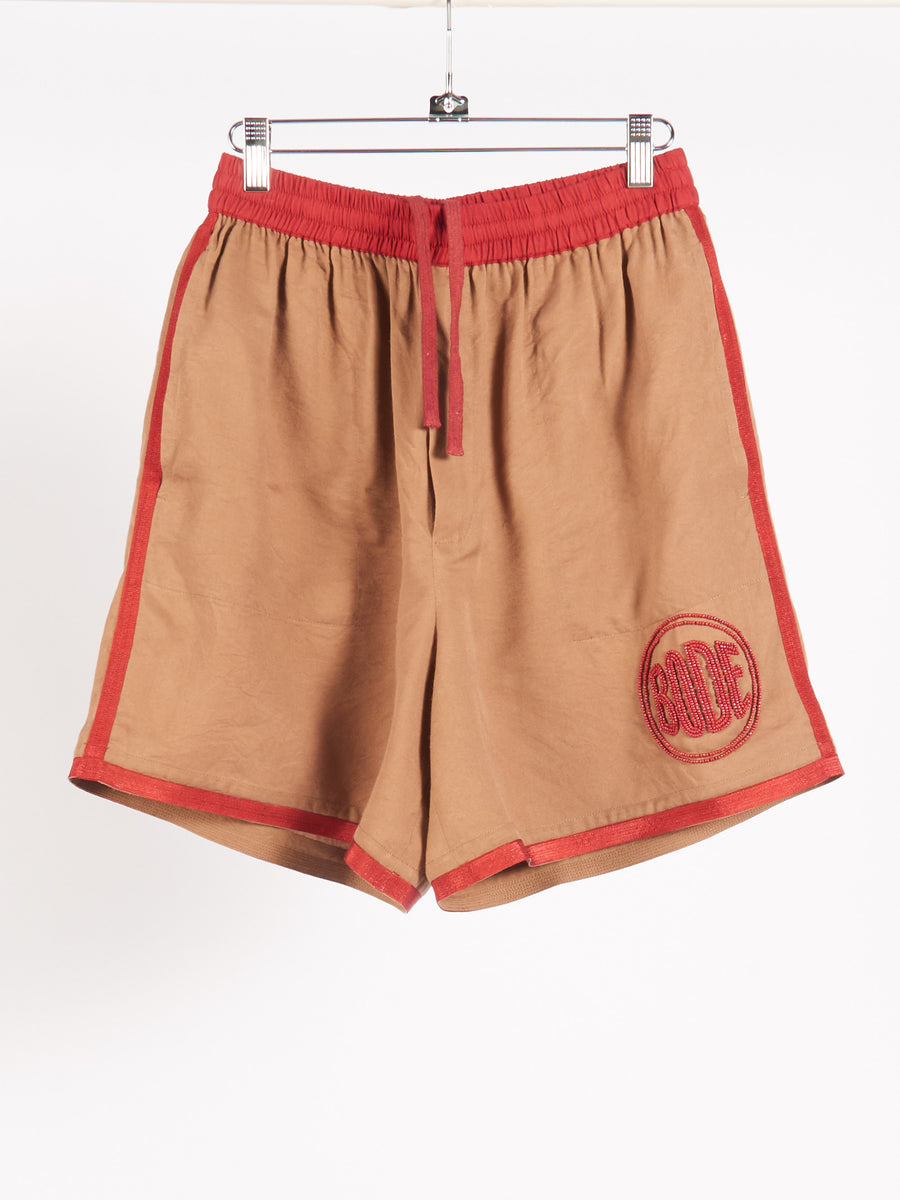 Tan/Red Beaded Bode Rugby Shorts
