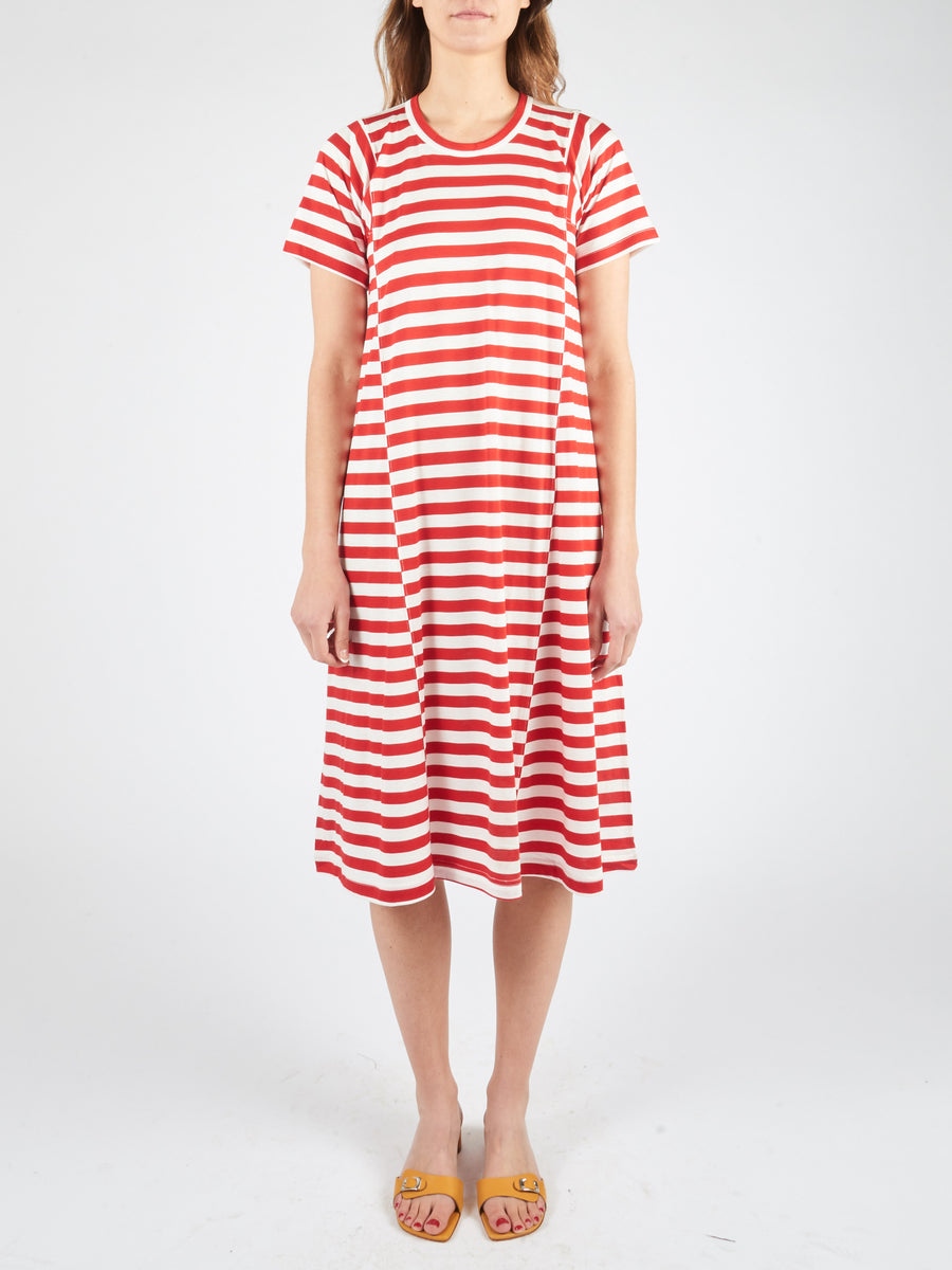 Red/Off White Long T-Shirt Dress