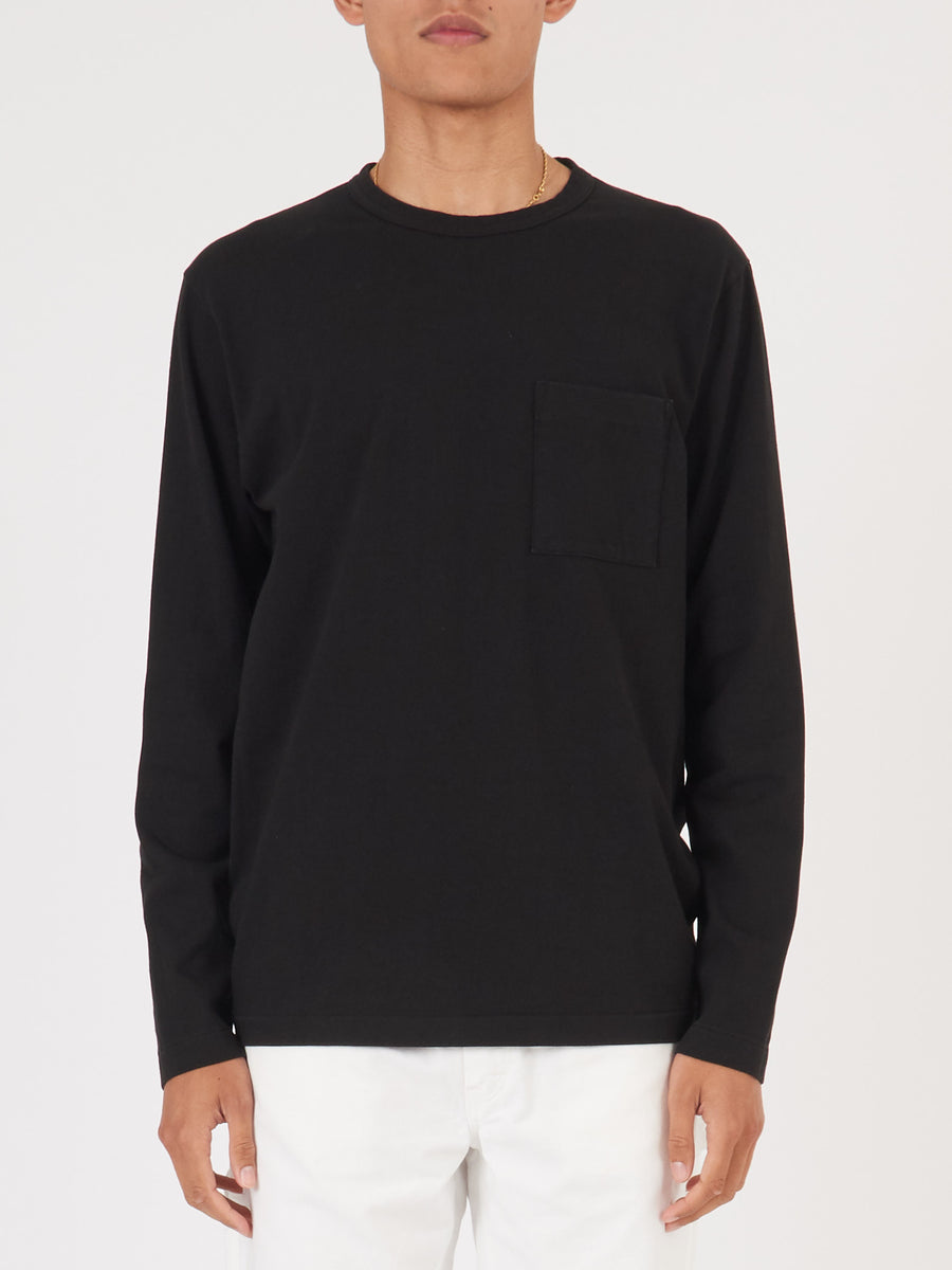 Black Heavy Duty L/S Pocket Tee