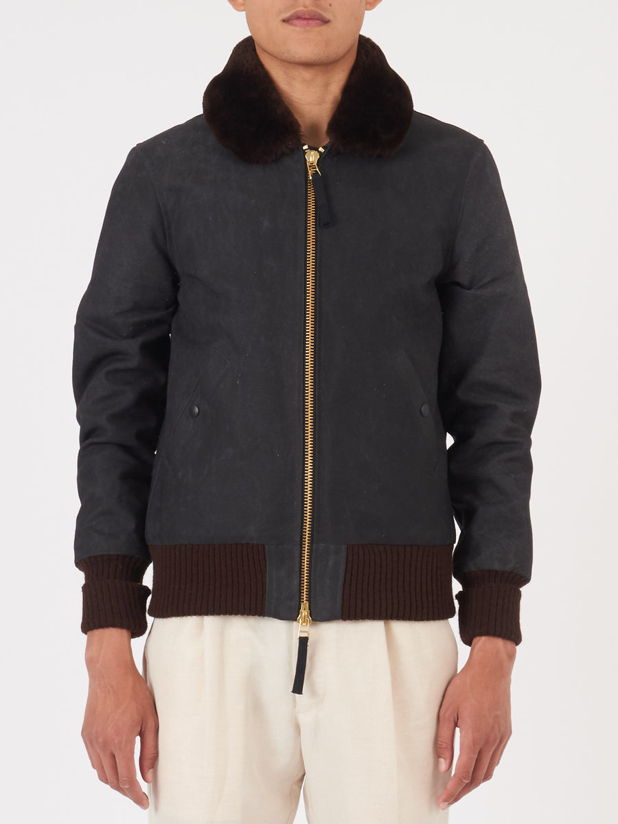 dehen-1920-Black/Brown-Flyer's-Club-Jacket-on-body