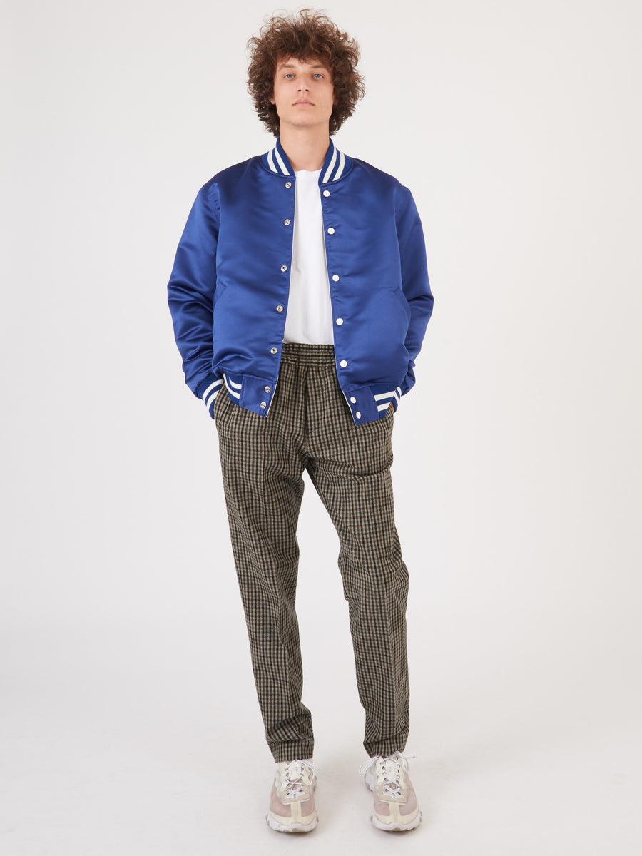 dehen-1920-Blue/White-Reversible-Satin-Dugout-Jacket-on-body