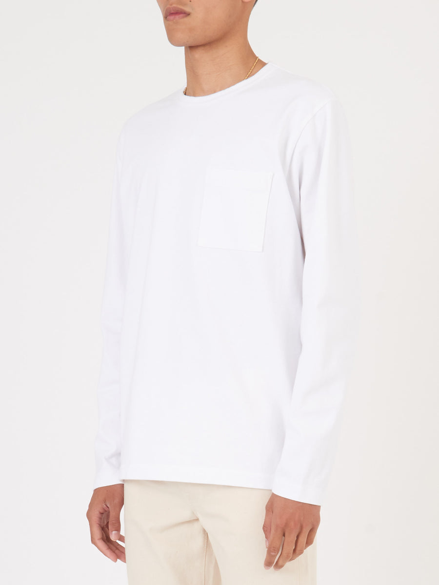 White Heavy Duty L/S Pocket Tee