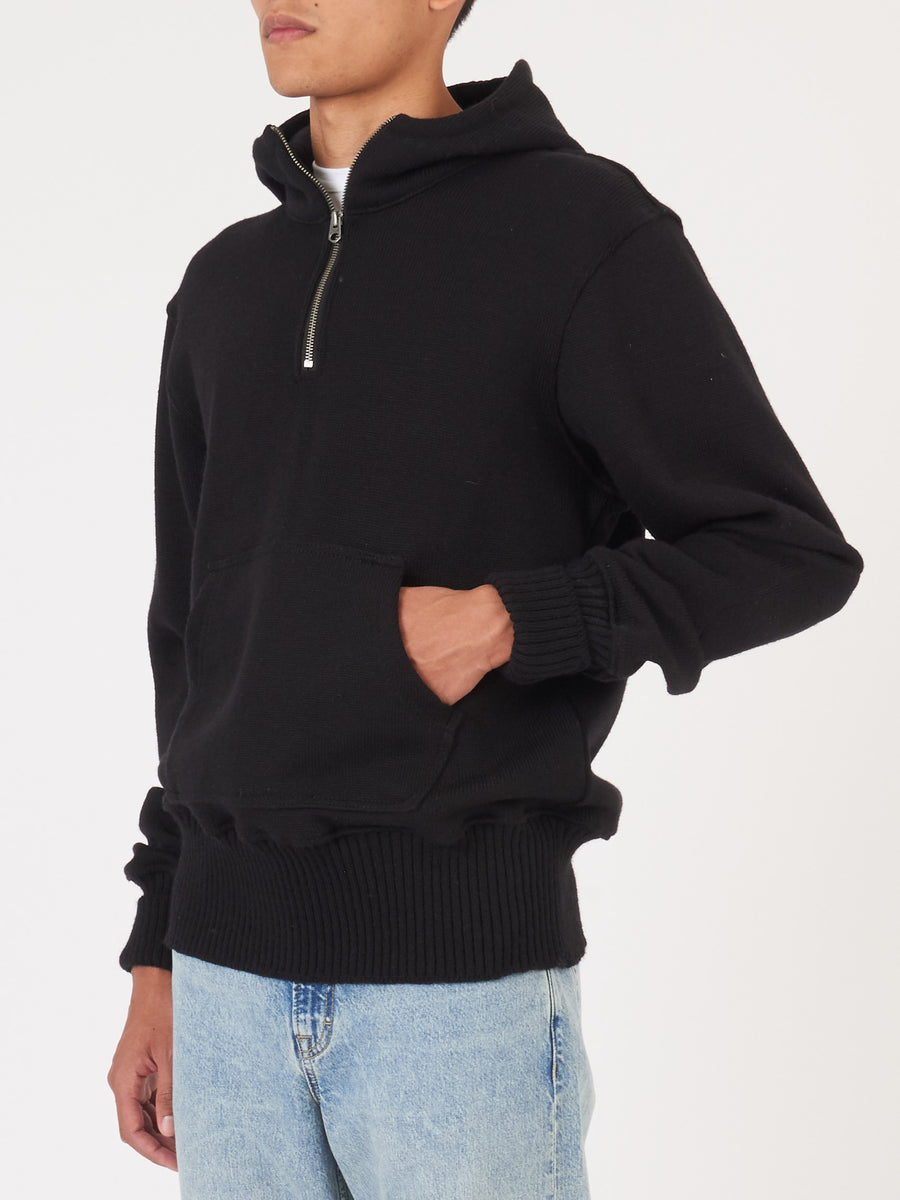 dehen1920-Black-1/4-Zip-Moto-Hoodie-on-body