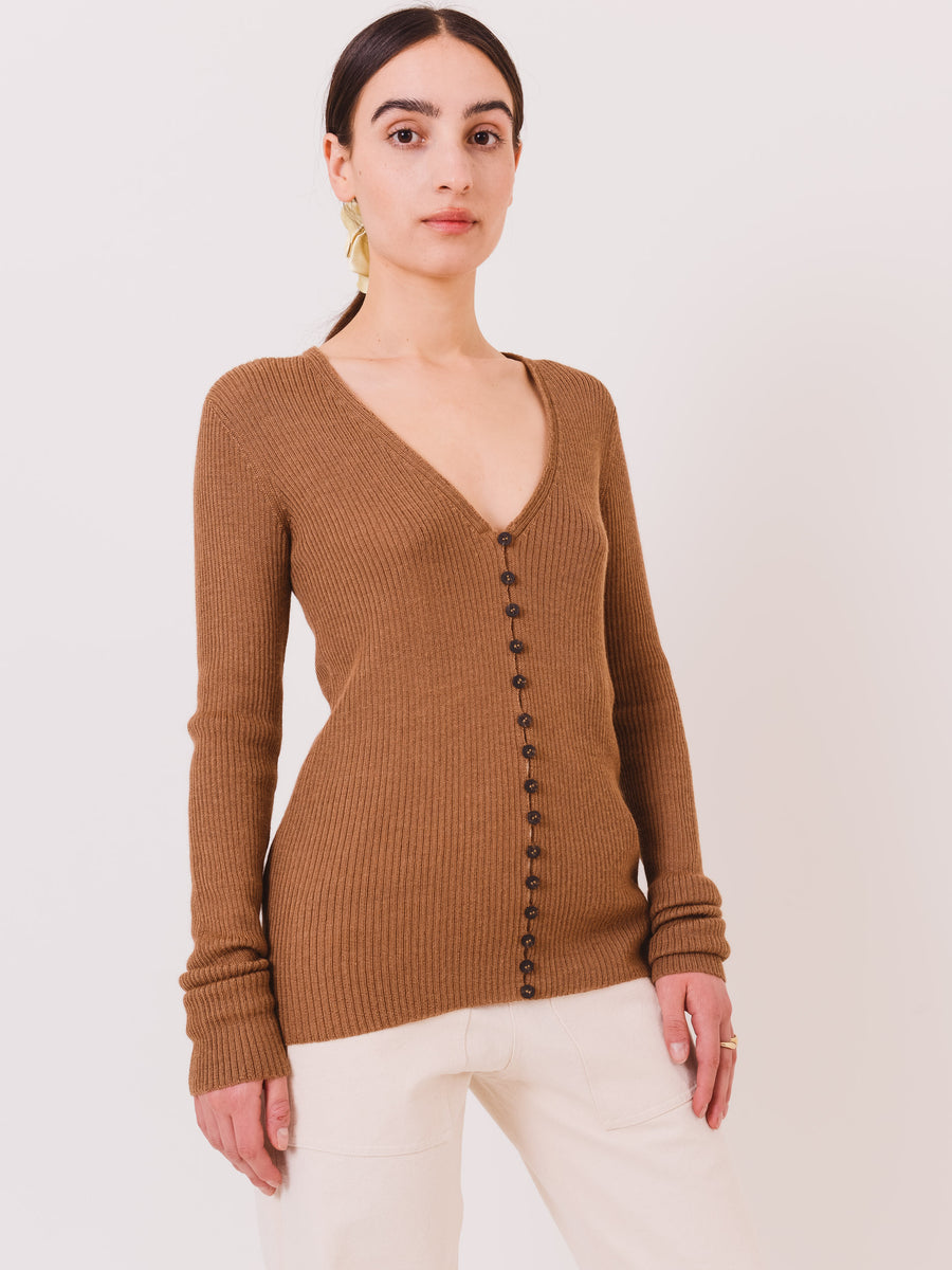 mara-hoffman-camel-dhara-cardigan-on-body