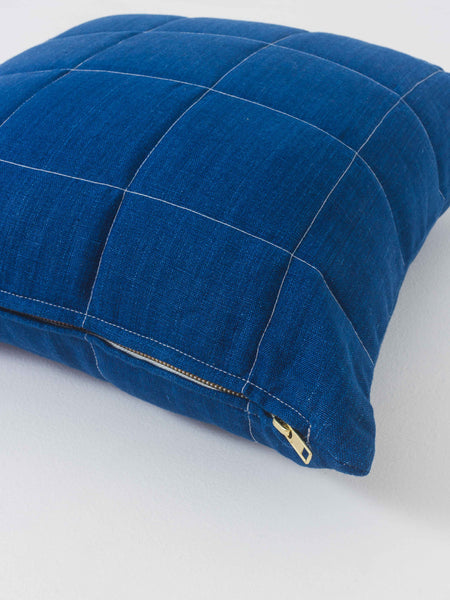 Indigo Grid Pillow