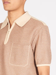 lemaire-Ecru/Brown-Knitted-Jersey-Polo-on-body