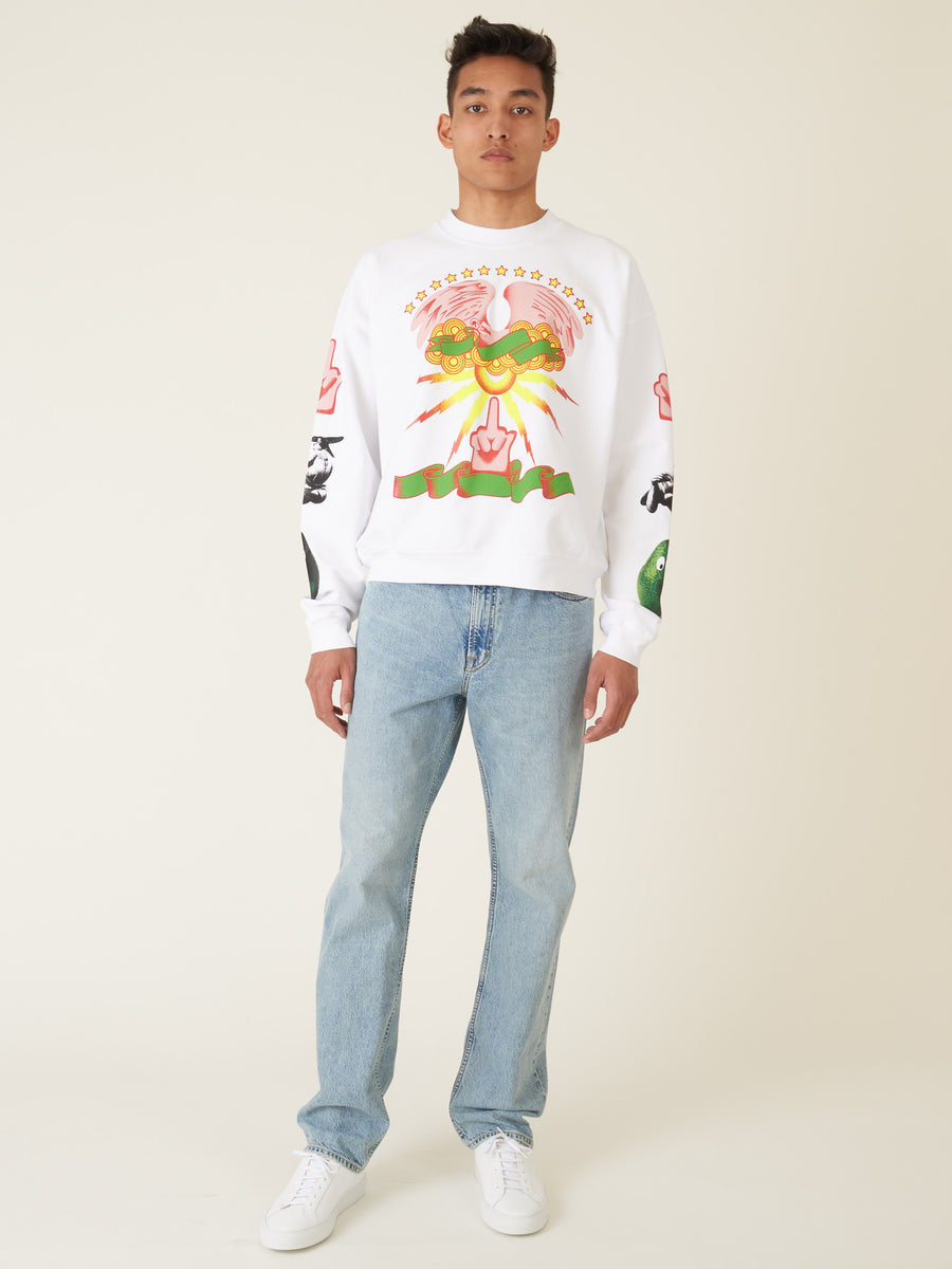 monitaly-White-Print-Cropped-Crewneck-Sweatshirt-on-body