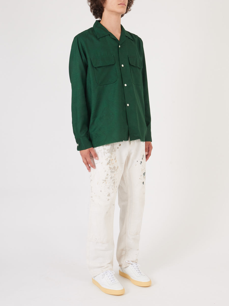 needles-Green Cut-Off-Bottom-Paisley-Shirt-on-body