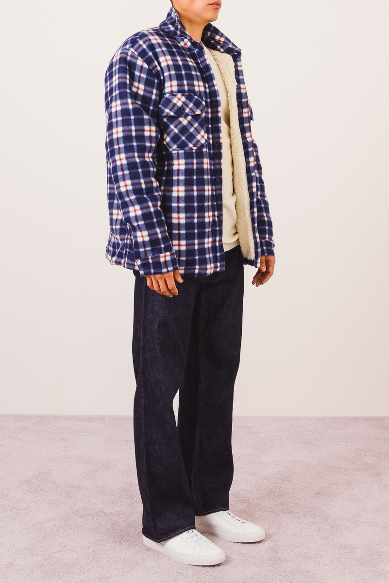 noon-goons-Blue/White/Red-Compa-Plaid-Polar-on-body