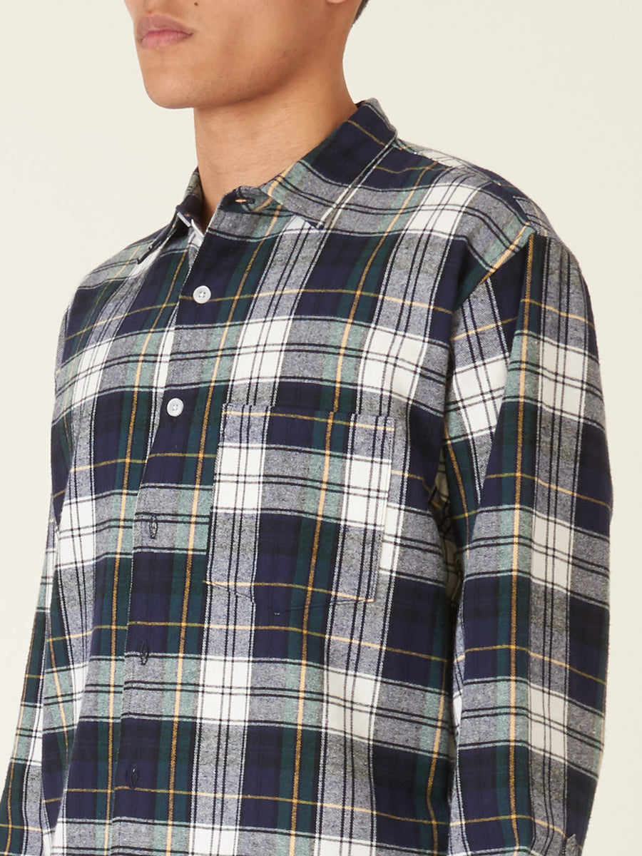 noon-goons-Navy/White-Sect-Flannel-Shirt-on-body