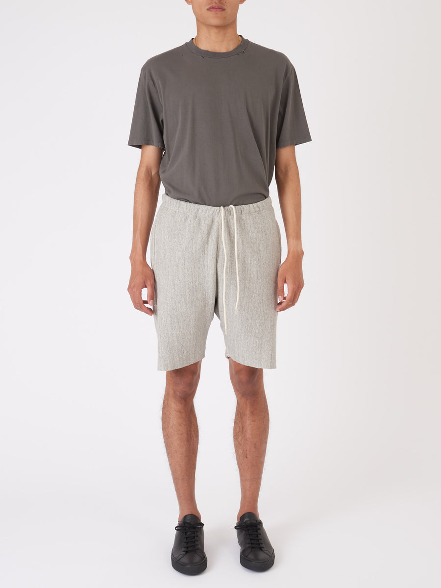 orslow-2-Heather-Grey-Sweat-Shorts-on-body