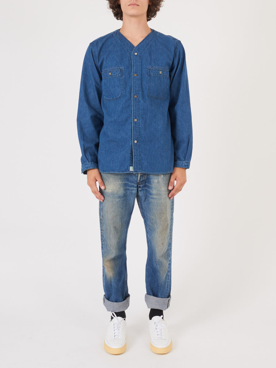 orslow-Used-Denim-No-Collar-Shirt-on-body