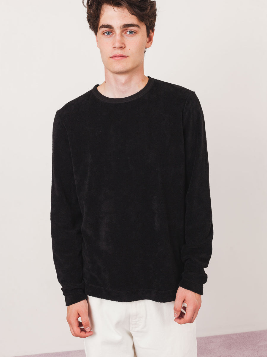 our-legacy-Black-Terry-L/S-T-Shirt-on-body