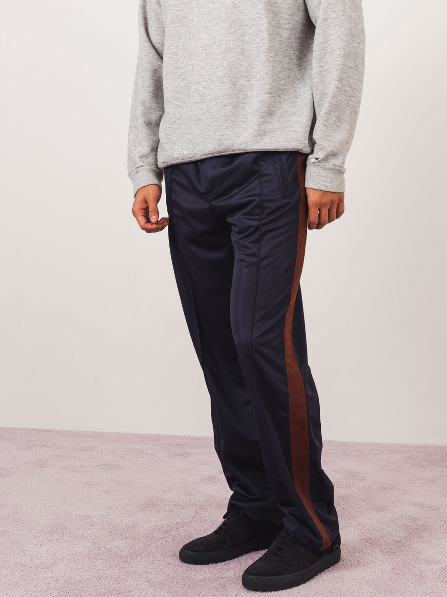 our-legacy-Brown/Navy-Side-Stripe-Track-Pants-on-body