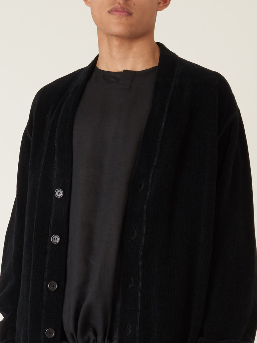 our-legacy-Charcoal-Chenille-Flatlock-Cardigan-on-body