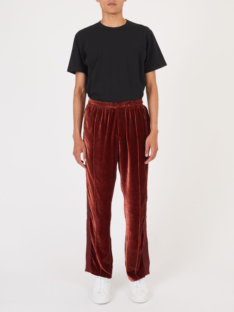 our-legacy-Wine-Velvet-Sidestripe-Track-Pants-on-body