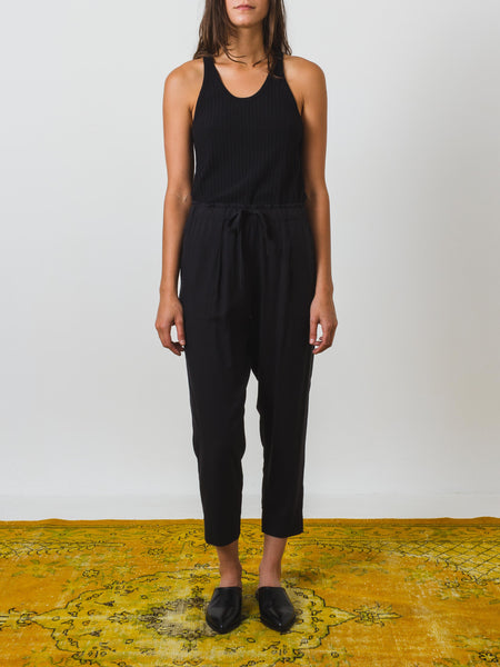 Black Silk Drawstring Pant