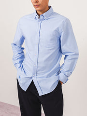 saturdays-Blue-Crosby-Oxford-L/S-Shirt-on-body