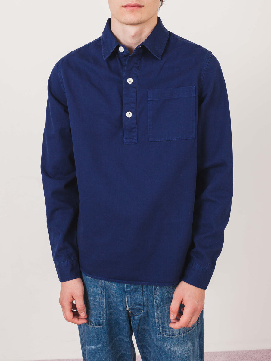 saturdays-Cobalt-Irving-Twill-L/S-Shirt-on-body