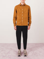 saturdays-nyc-Burnt-Khaki-Nolan-Washed-Denim-L/S-Shirt-on-body
