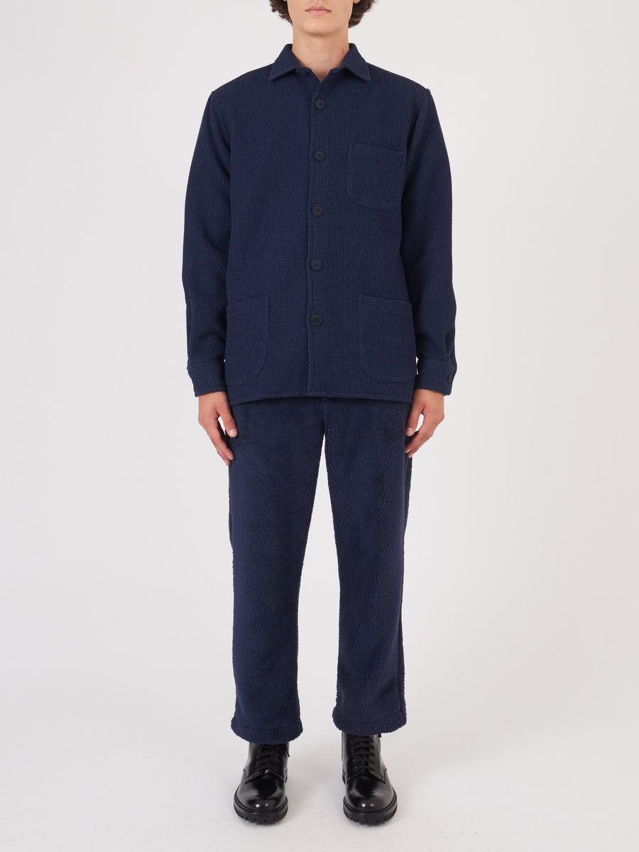 schnaydermans-Navy-Waffle-Wool-Overshirt-on-body