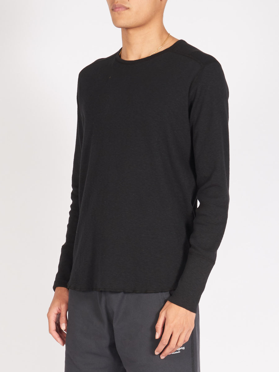 wings+horns-Black-1X1-L/S-Slub-Crewneck-on-body