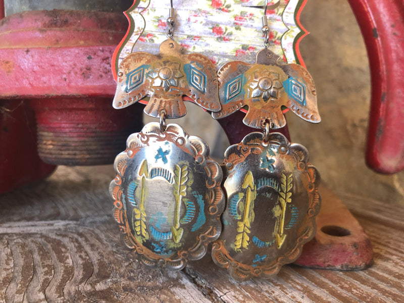 West Coast Cowgirl Thunderbird & Concho Painted Earrings