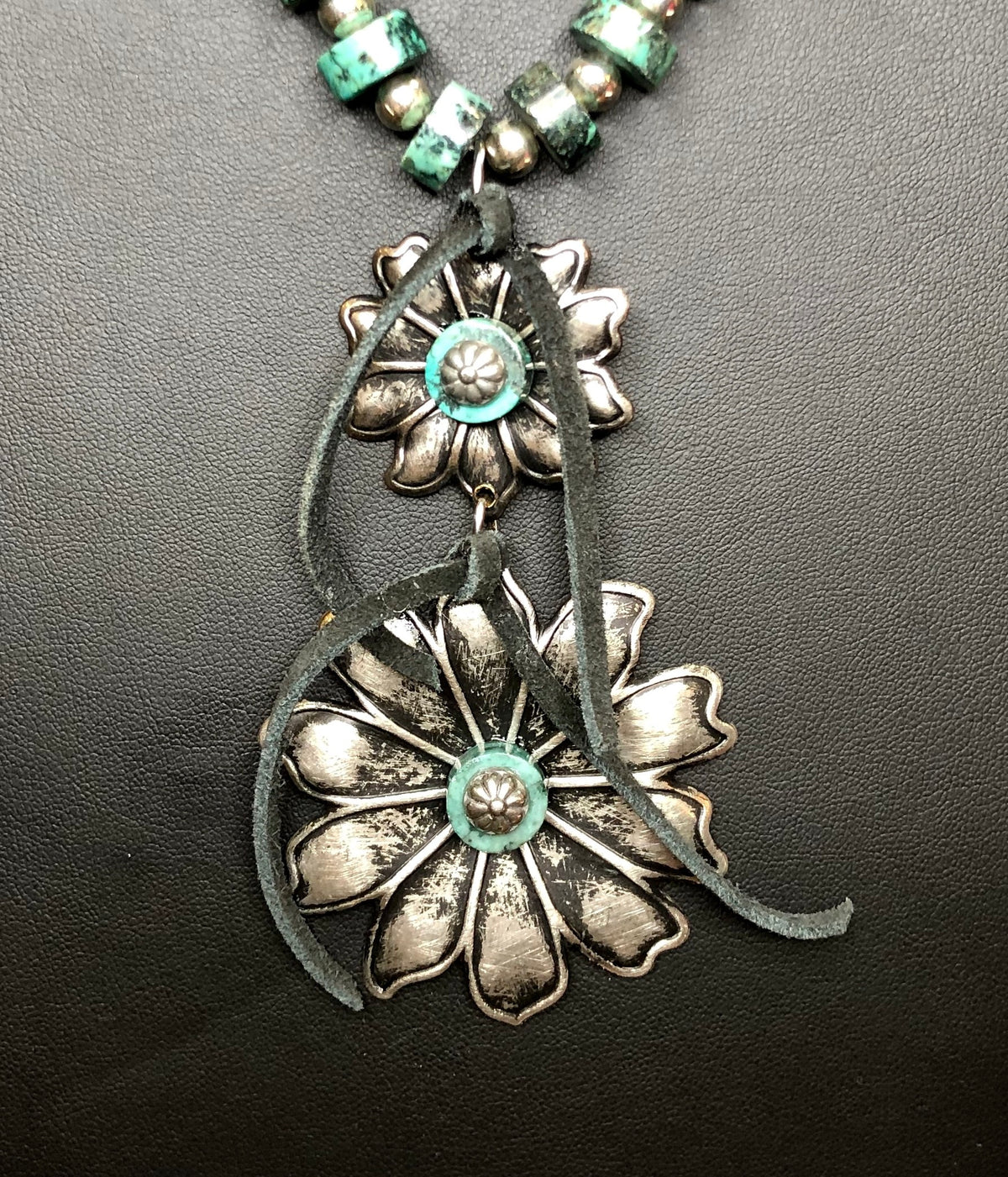 The African Turquoise & Sterling Silver Plate Silver Bead Long Necklace with Double Flower Pendant
