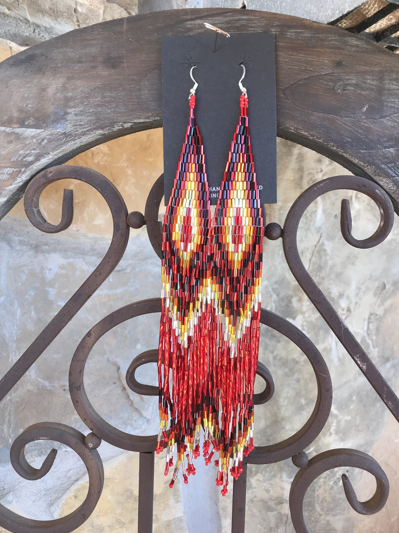 Firebird Feather Bead Earrings