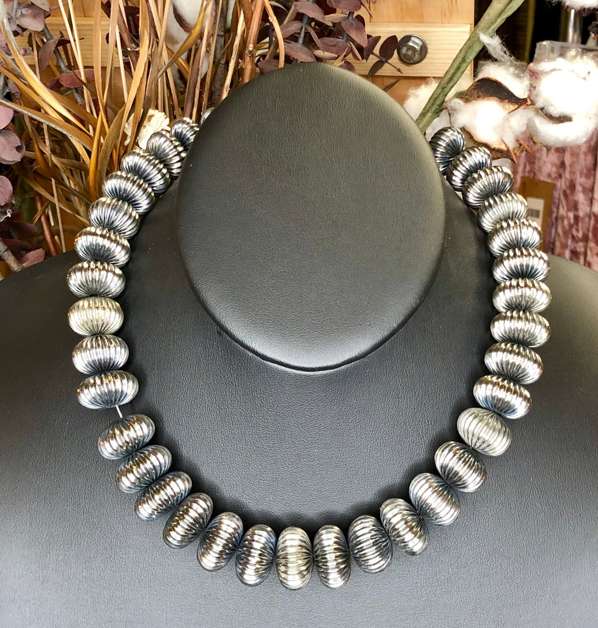 West Coast Cowgirl Choker Necklace of Large Corrugated Sterling Silver Plated Beads