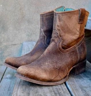 Corral Chocolate-Tan Lamb Ankle Boots