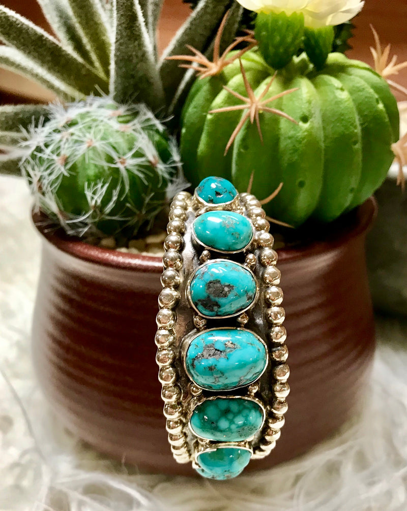 Multi-stone Turquoise & Sterling Silver Cuff Bracelet
