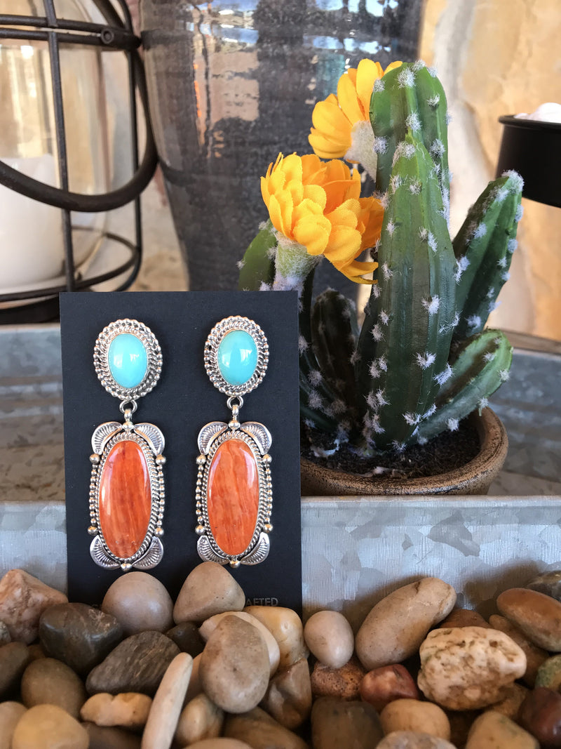 Turquoise, Coral & Sterling Silver Earrings
