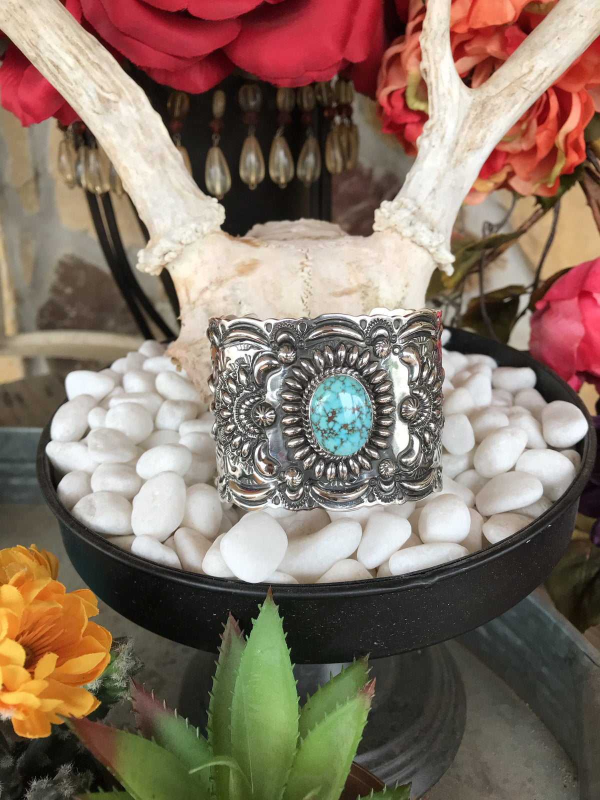 Ex-wide Turquoise Mt Stamped Cuff