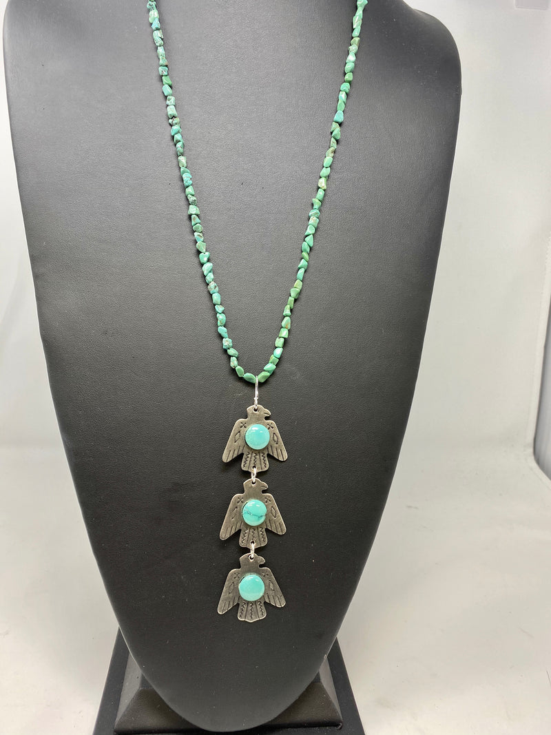 Three Bird Long Turquoise Necklace